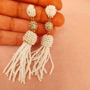 White Tassel Drop Earrings super cute